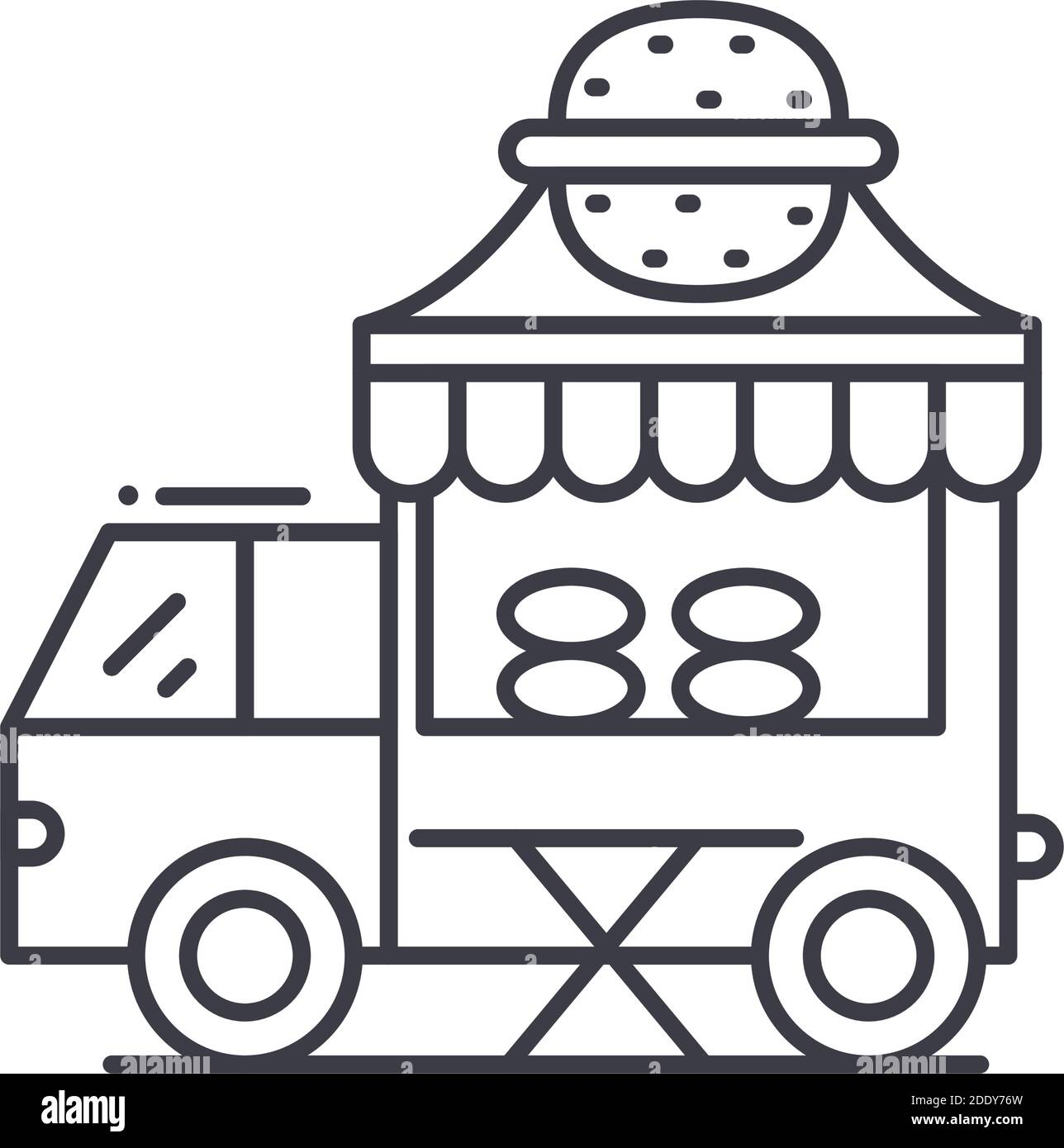 Foodtruck icon, linear isolated illustration, thin line vector, web design sign, outline concept symbol with editable stroke on white background. Stock Vector