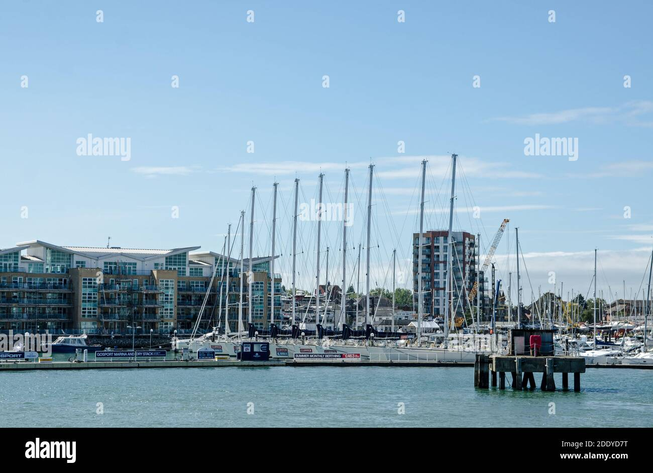 Gosport, UK - September 8, 2020: View of Gosport Marina with a number of yachts involved in the Clipper Round the World race moored in the sunshine. Stock Photo