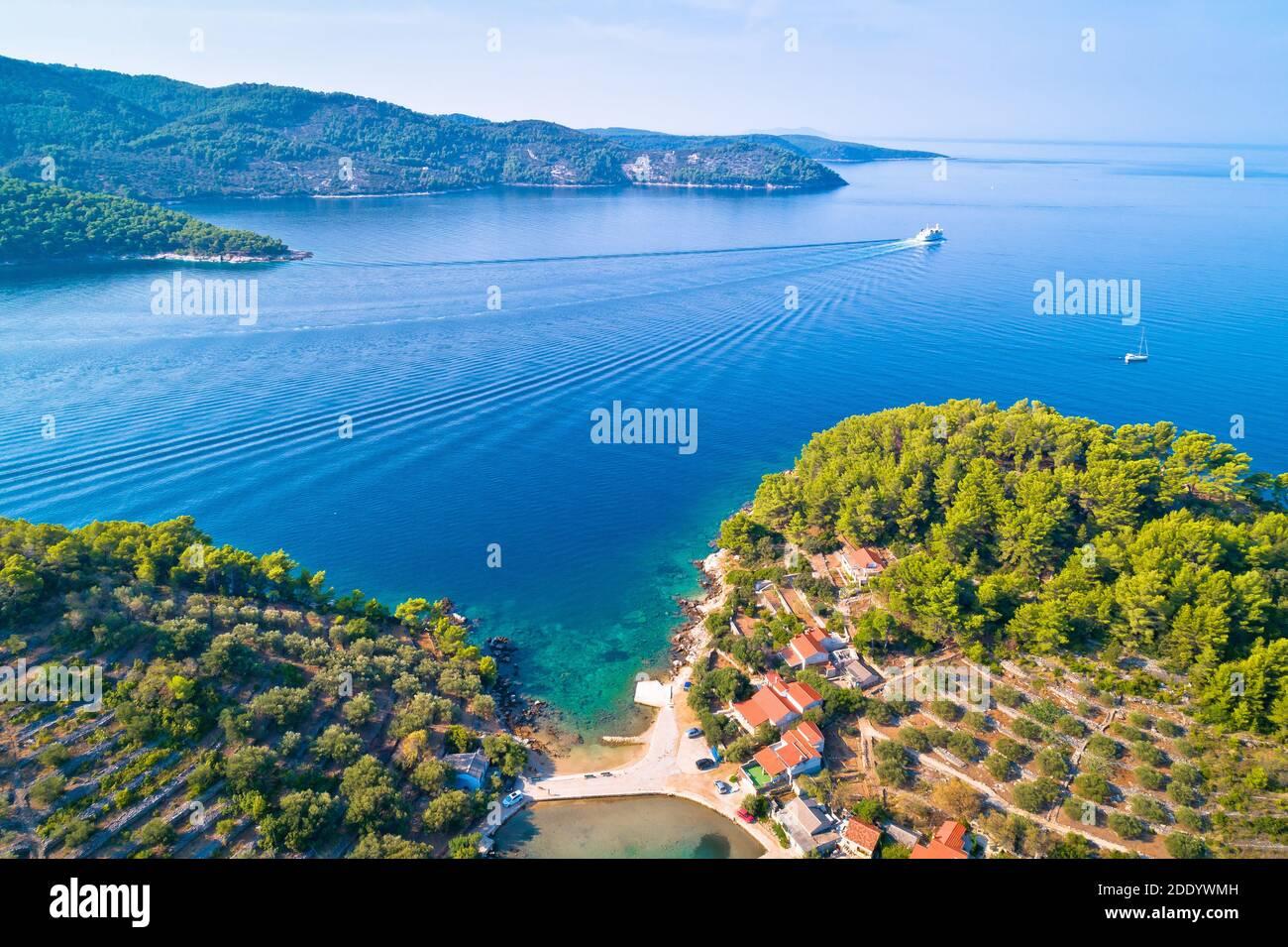 Korcula island. Bay entrance of Vela Luka aerial view, archipelago of southern Dalmatia, Croatia Stock Photo