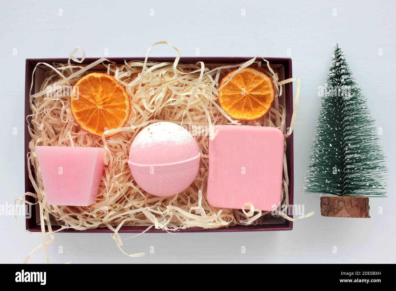 Spa Gift Basket With Set Of Organic Skin Care Products Pink Candle Bath Bomb And Handmade Rose Soap Bar In Open Gift Box On White Background Stock Photo Alamy