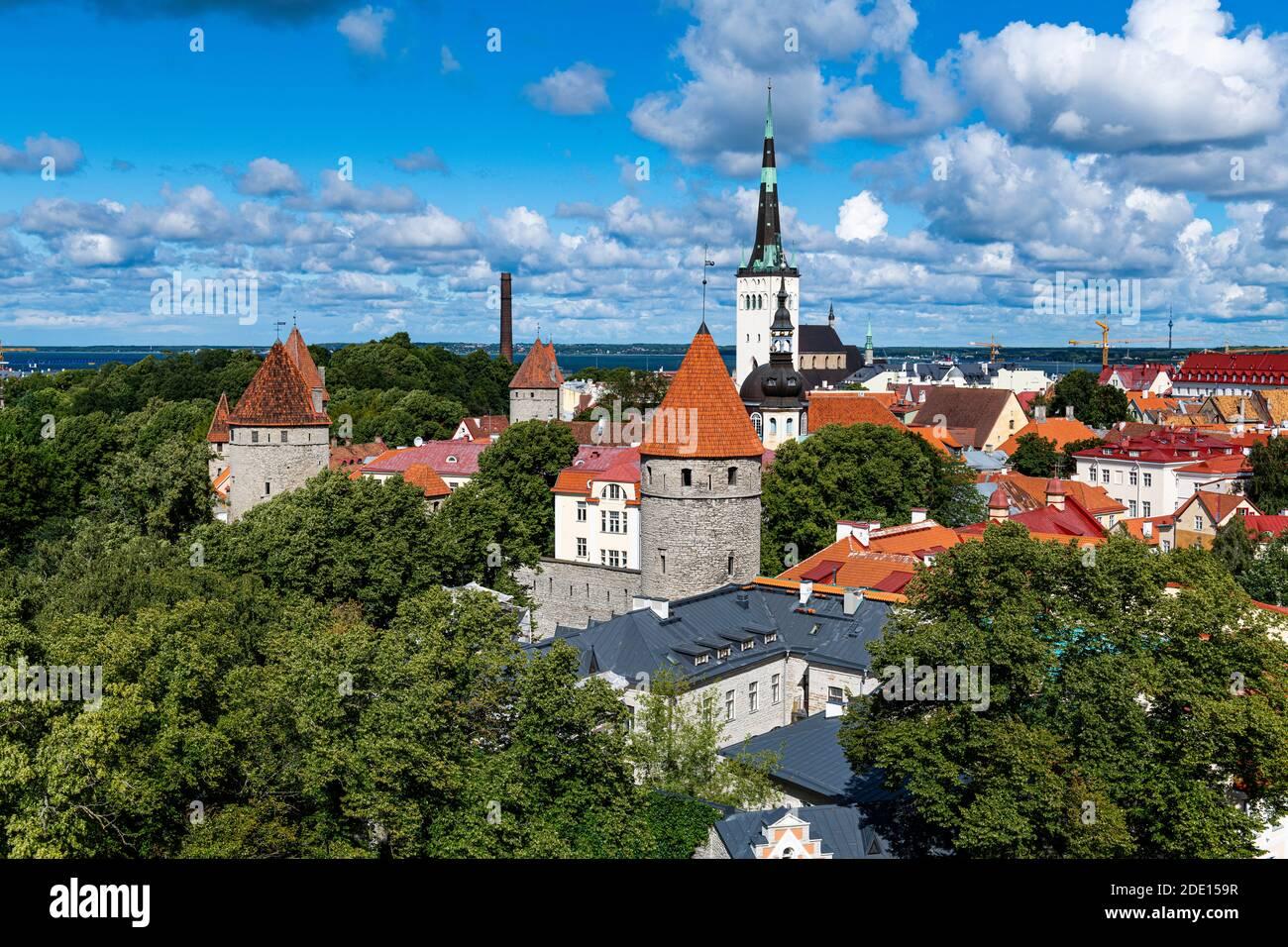 View over the Old Town of Tallinn, UNESCO World Heritage Site, Estonia, Europe Stock Photo
