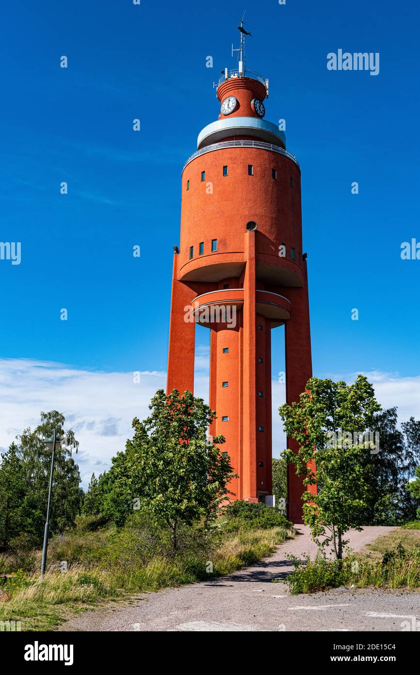 Old water tower now an observation platform, Hanko, southern Finland, Europe Stock Photo