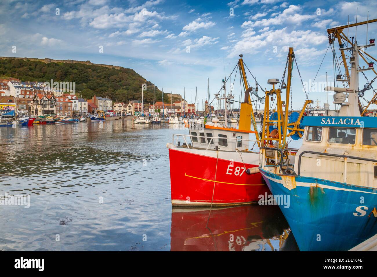 View of old harbour below Castle Hill, Scarborough, North Yorkshire, Yorkshire, England, United Kingdom, Europe Stock Photo