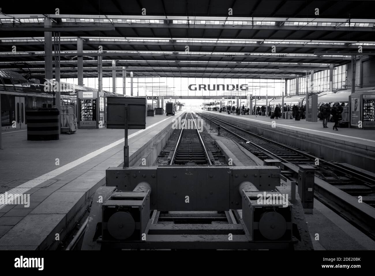 A view from behind the buffers, at an empty platform at Munich Central Train station, Munich, Germany Stock Photo