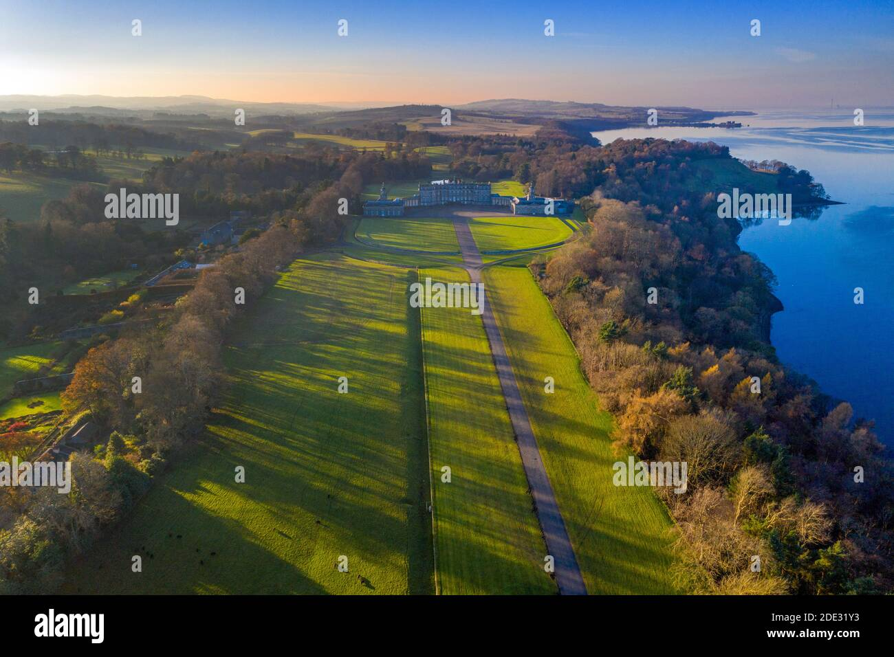 Aerial view Hopetoun House, South Queensferry, Scotland. Stock Photo