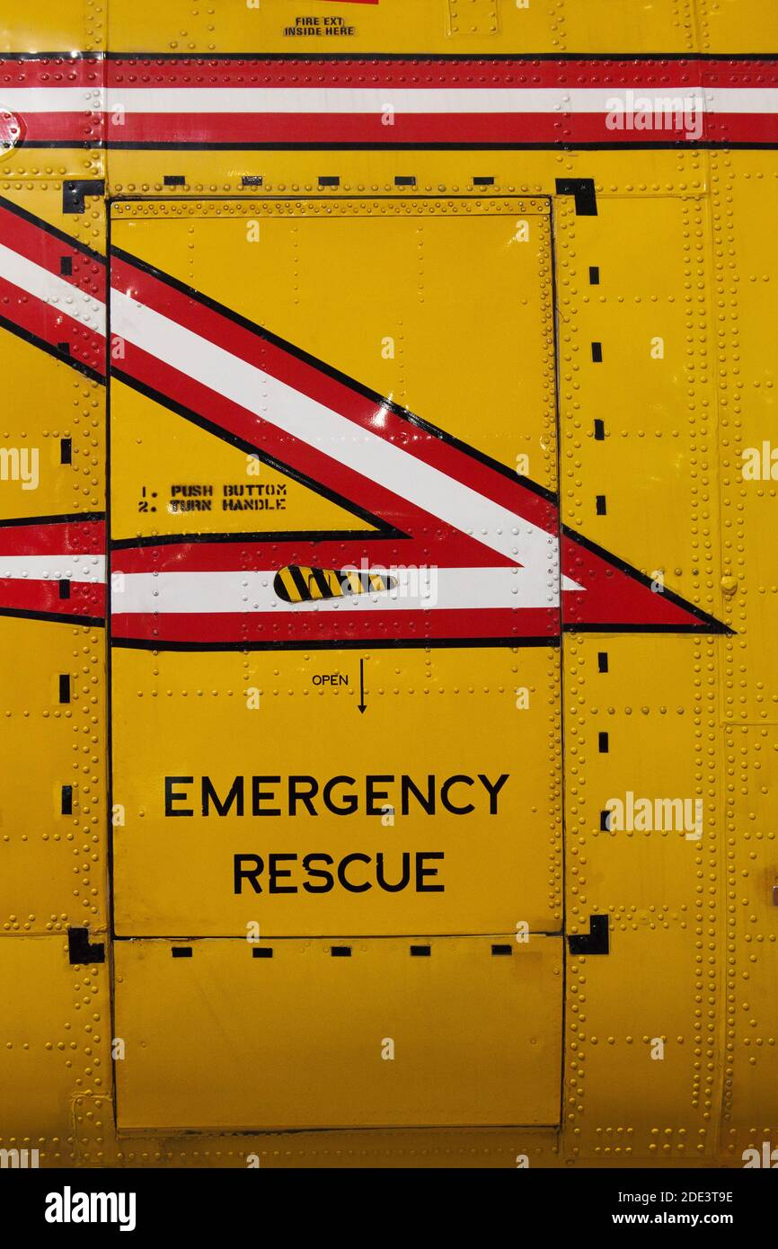 Emergency Rescue Helicopter Door, Canada Aviation and Space Museum, Ottawa, Ontario, Canada Stock Photo