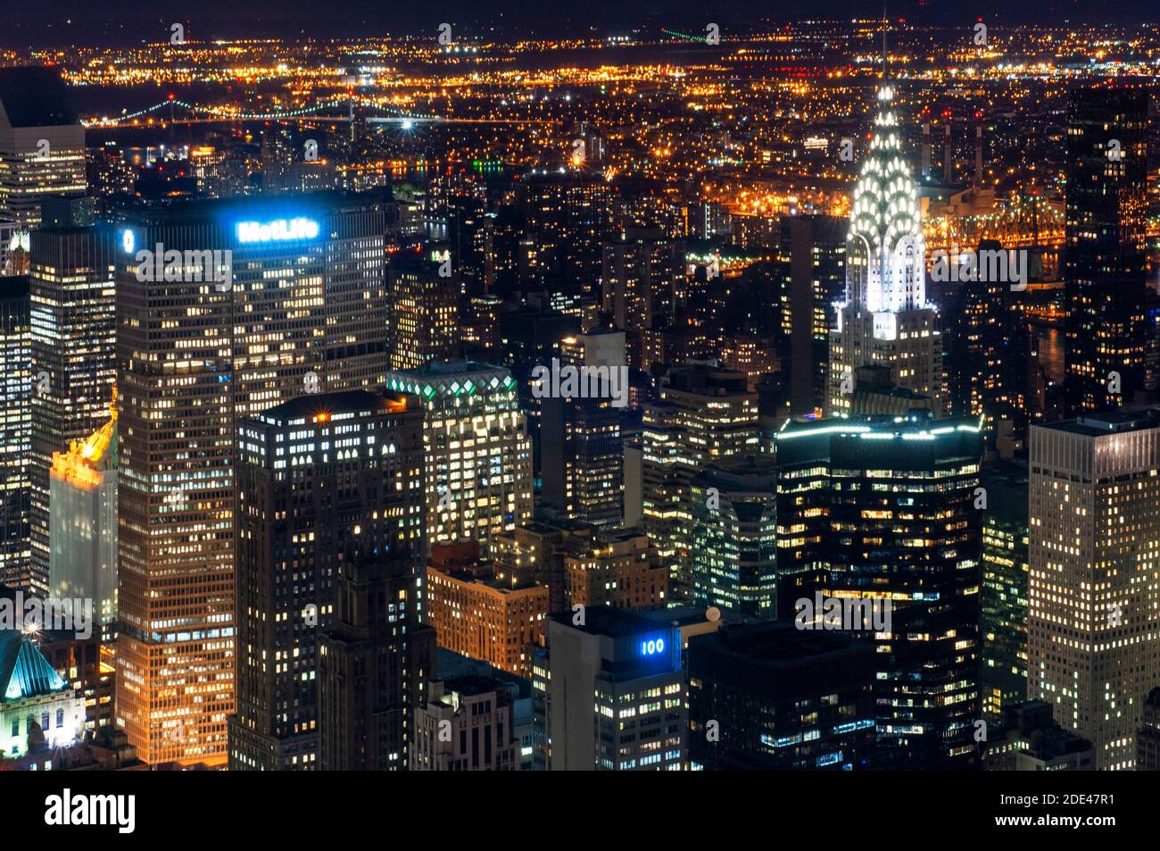 Aerial view from the Empire State building. Night view of Lower ...