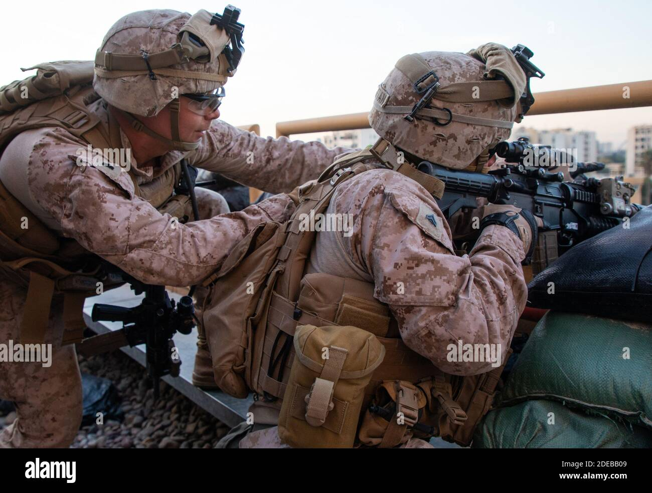 Baghdad, Iraq. 29th Nov, 2020. U.S. Marines with 2nd Battalion, 7th Marines, assigned to the Special Purpose Marine Air-Ground Task Force-Crisis Response-Central Command (SPMAGTF-CR-CC) 19.2, reinforce the Baghdad Embassy Compound in Iraq, on January 1, 2020. Dozens of angry Iraqi Shiite militia supporters broke into the U.S. Embassy compound in Baghdad on Tuesday, December 31, 2019, after smashing a main door and setting fire to a reception area. Photo by Sgt. Kyle C. Talbot/U.S. Marine Corps/UPI Credit: UPI/Alamy Live News Stock Photo