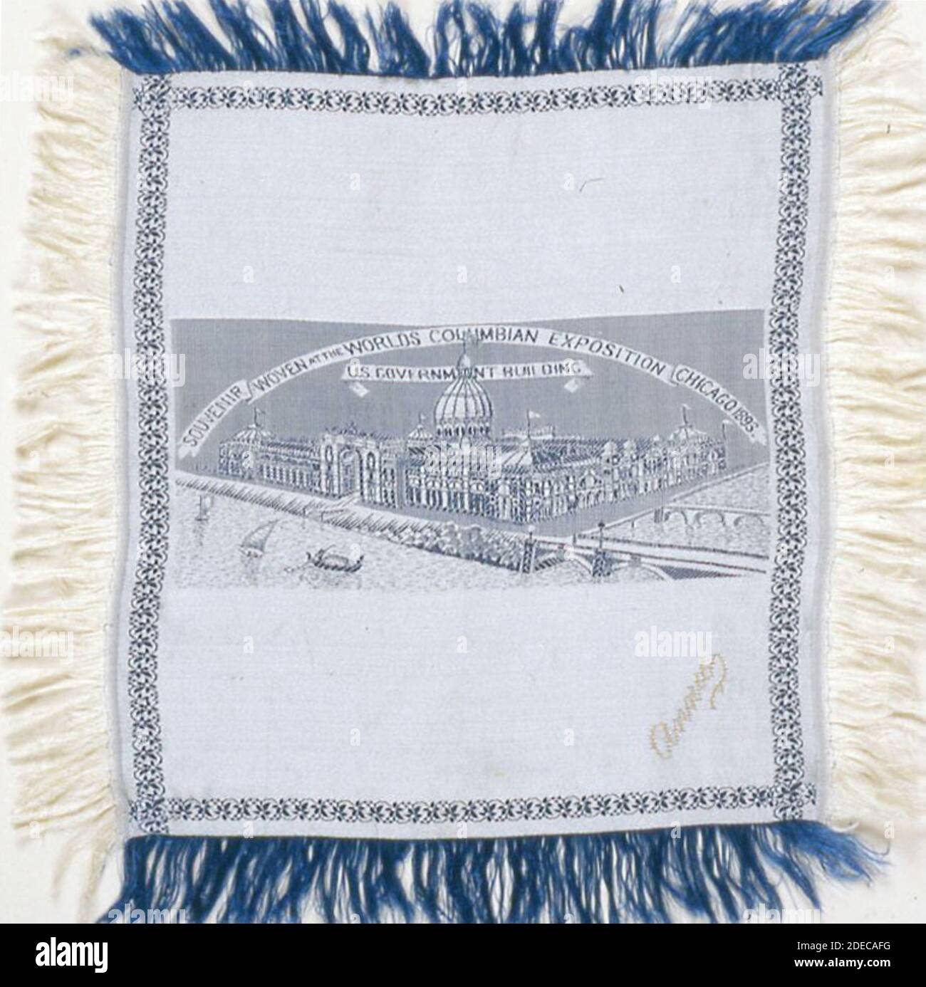 Medium:  Silk; weft-float faced satin weave self-patterned by main warp floats and areas of plain interlacing; extended ground weft cut fringe; woven on loom with Jacquard attachment; signature embroidered in couching Stock Photo