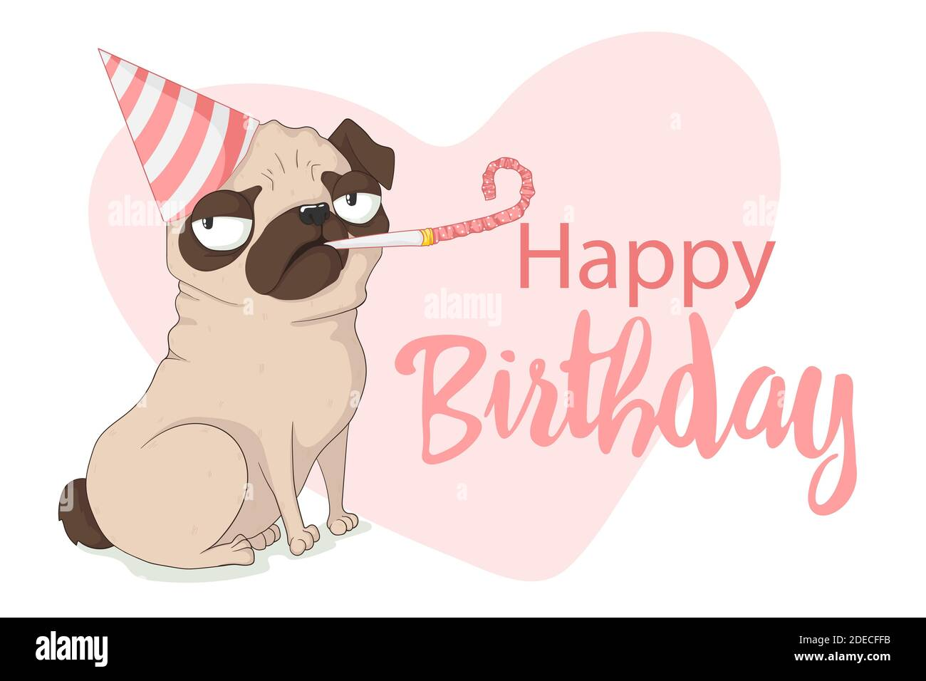 Cute grumpy pug dog with birthday cap and holiday whistle. Vector hand drawn illustration in cartoons style with slogan. Isolated on white background. Stock Vector