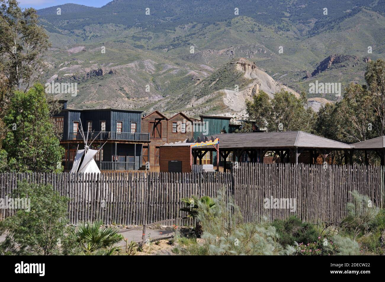 View of Fort Apache at Mini Hollywood with mountains to the rear, Tabernas, Almeria Province, Andalucia, Spain, Europe Stock Photo