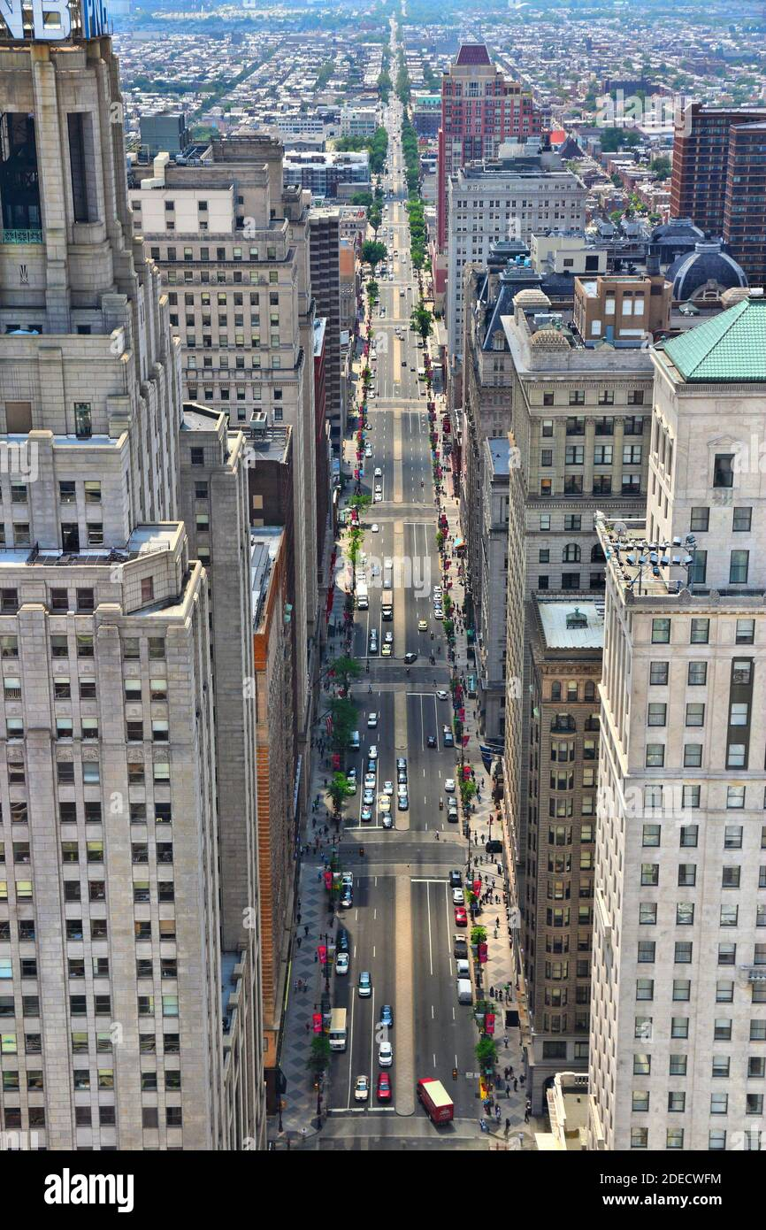 PHILADELPHIA, USA - JUNE 11, 2013: Aerial view of South Broad Street in Philadelphia. As of 2012 Philadelphia is the 5th most populous city in the US Stock Photo