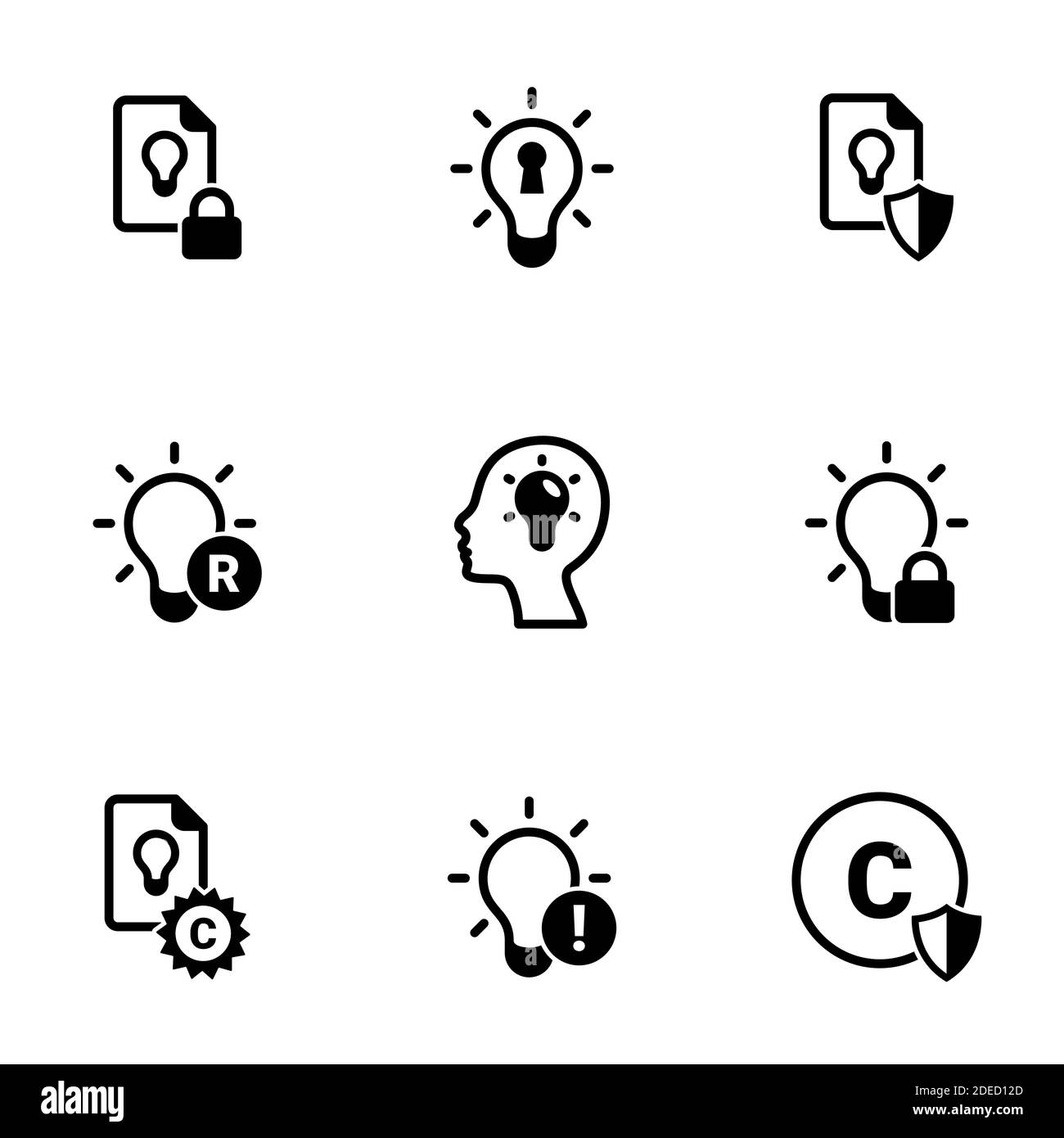 Set of simple icons on a theme Intellectual property, vector, design, collection, flat, sign, symbol,element, object, illustration, isolated. White ba Stock Vector