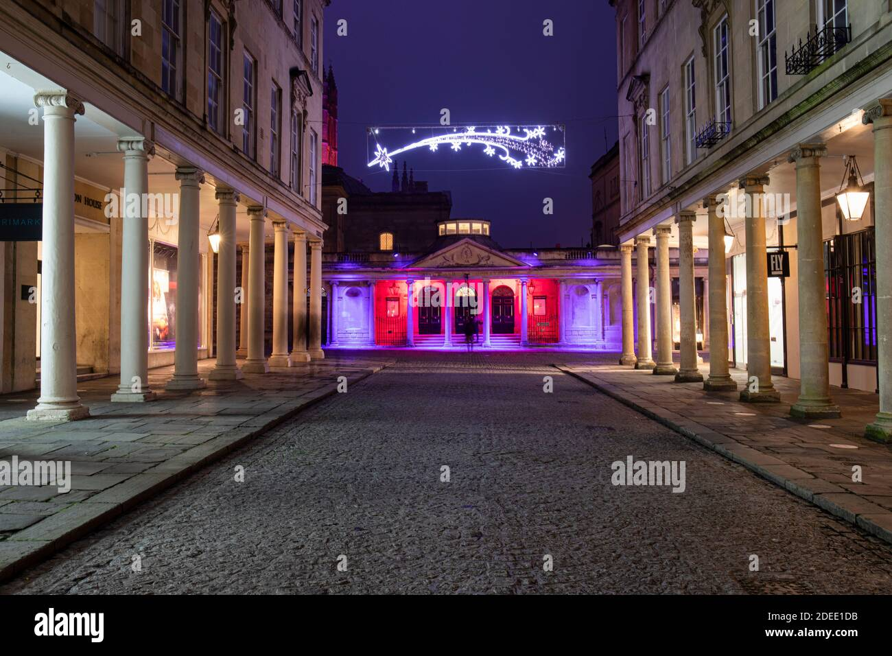 The Romans Baths lit with colourful festive projected illuminations part of the 2020 Christmas Lights display. Bath City Centre, Somerset, England UK Stock Photo