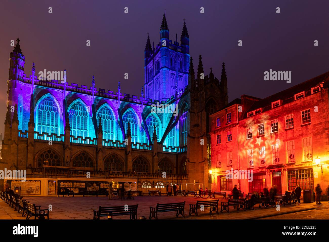 Bath Abbey lit with colourful illuminations and is part of the 2020 Christmas Light Trail in Bath City Centre, Somerset, England, UK Stock Photo