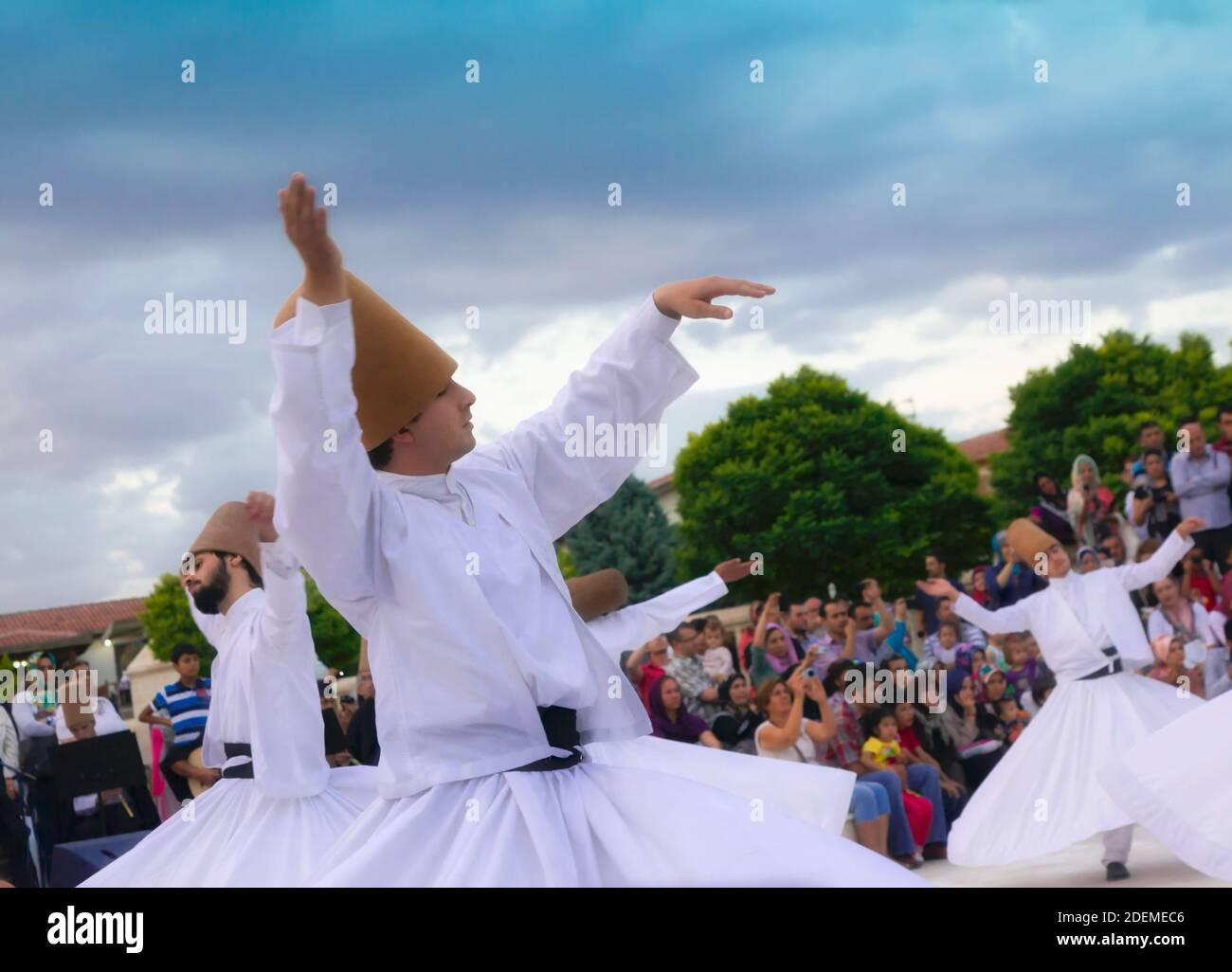 """Konya, Konya Province, Turkey. Whirling Dervishes. UNESCO proclaimed the """"The Mevlevi Sema Ceremony"""" of Turkey (seen here) amongst the Masterpieces of Stock Photo"""