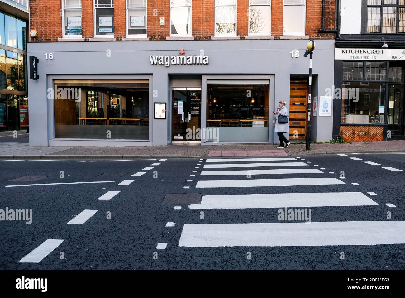 London UK, December 01 2020, Wagamama Asian Style Food Restaurant Closed During COVID-19 Pandemic Lockdown Stock Photo