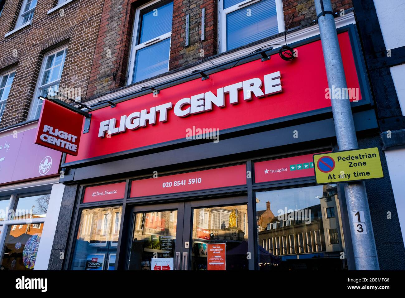 London UK, December 01 2020,  Flight Centre Travel Agency Store Closed To Customers During COVID-19 Lockdown Stock Photo