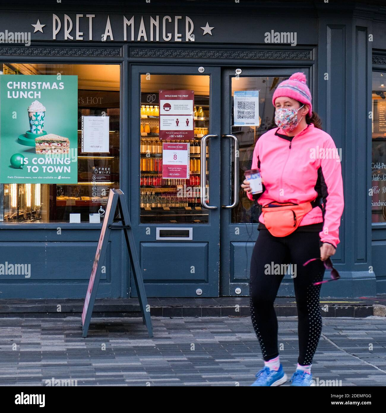 London UK, December 01 2020, Pret A Manger High Street Coffee Takeaway Outlet Open For Takeout Food And Drink During COVID-19 Lockdown Stock Photo