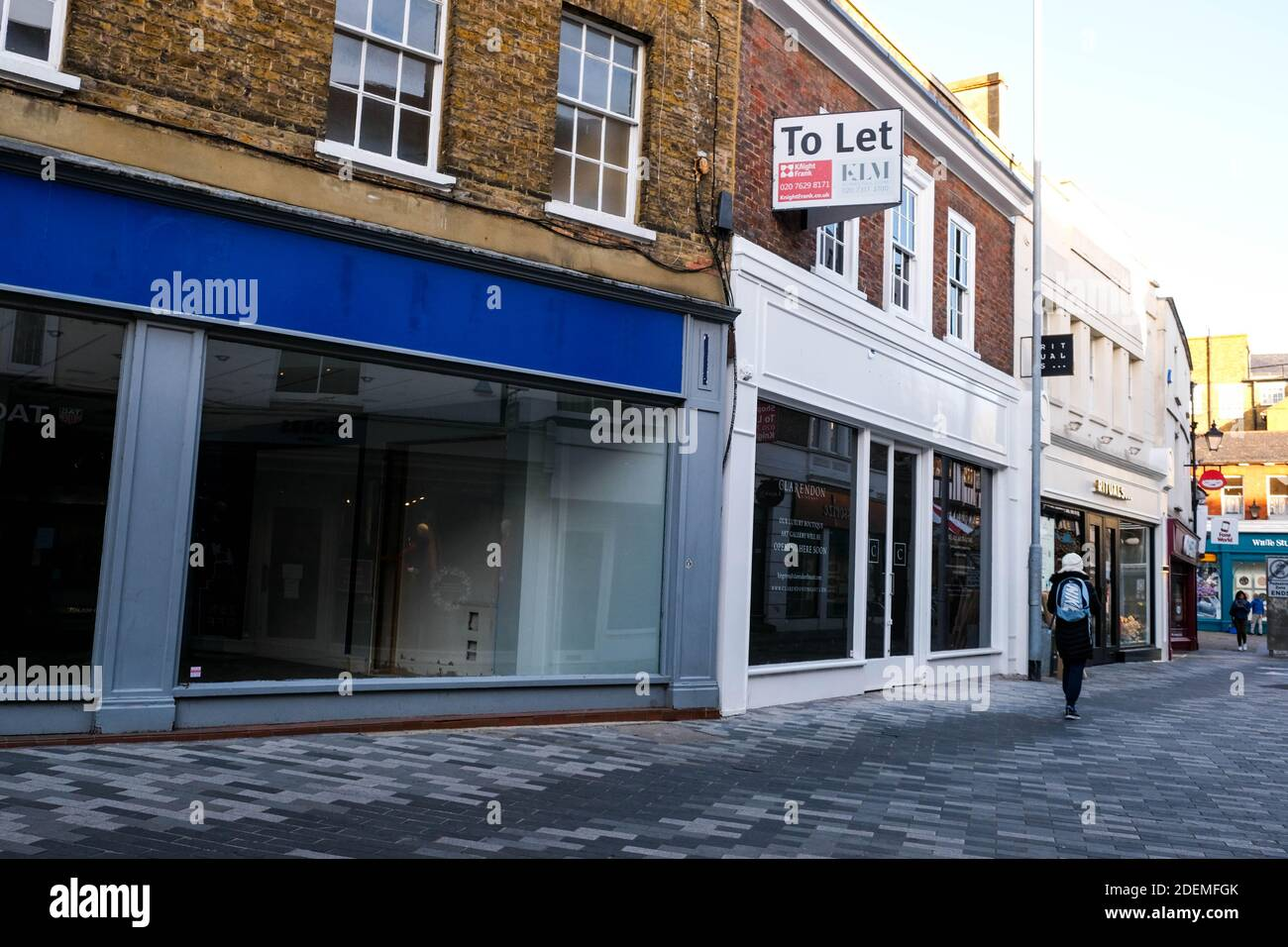 London UK, December 01 2020, Empty Retail High Street Shops Closing Down Due To Covid-19 Business Failues Stock Photo