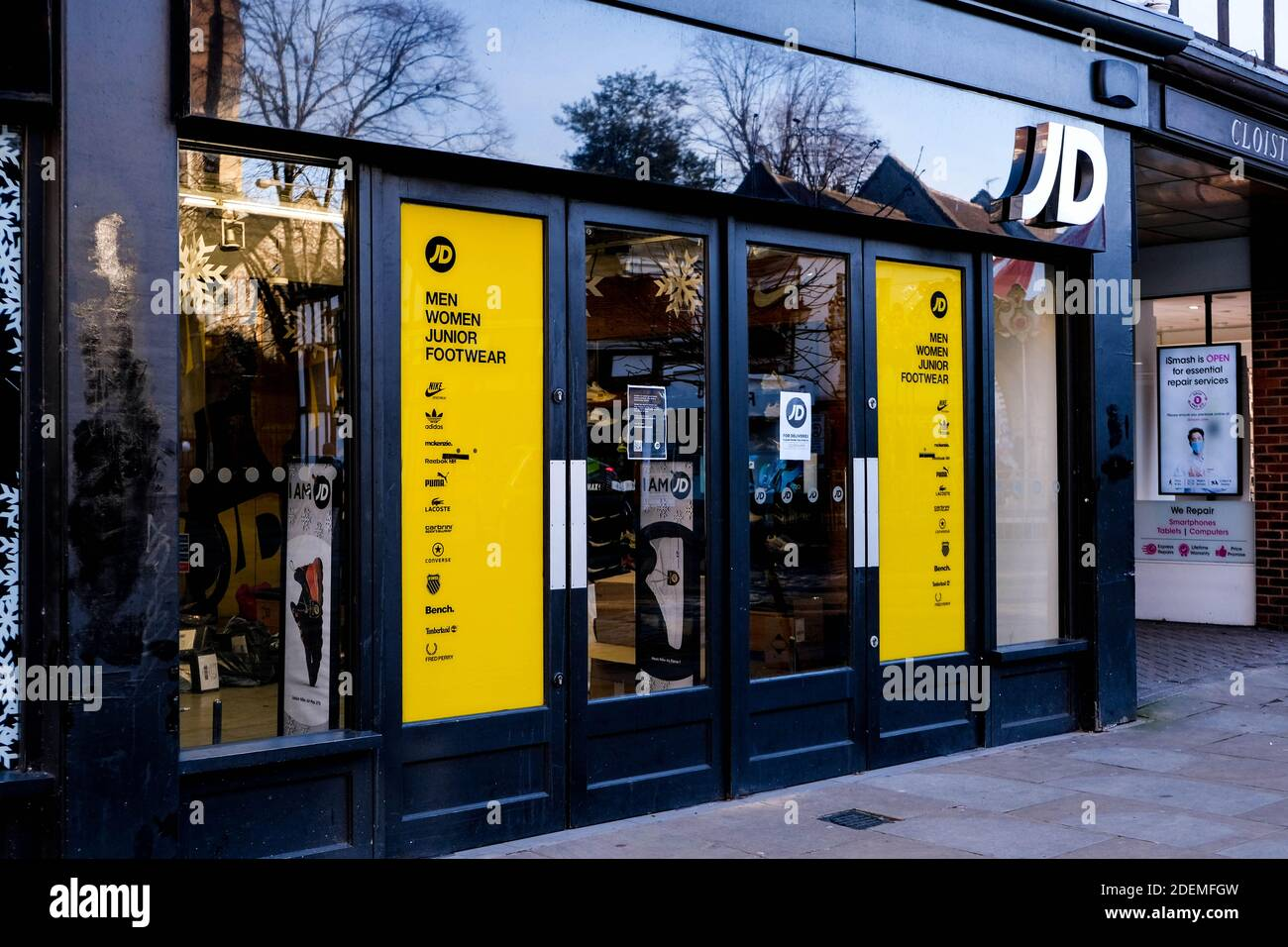 London UK, December 01 2020, JD Sports High Street Shop Closed For Business During COVID-19 Lockdown Stock Photo