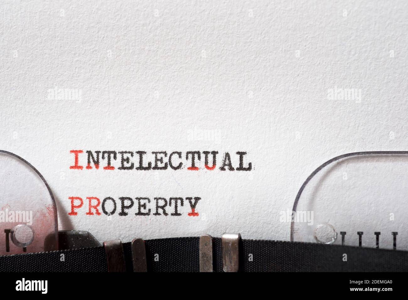Intellectual property phrase written with a typewriter. Stock Photo