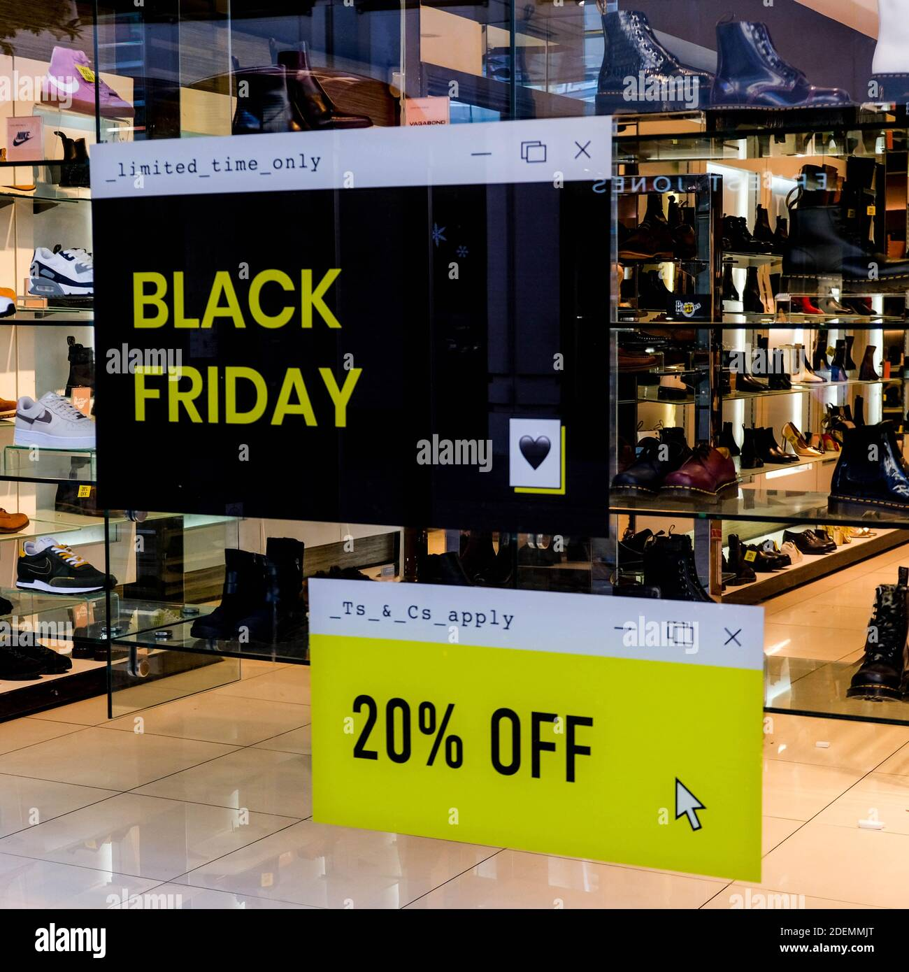 London UK, December 01 2020, Shop Windowns Advertising Black Friday Discounts To Boost Trade During COVID-19 Lockdown Stock Photo