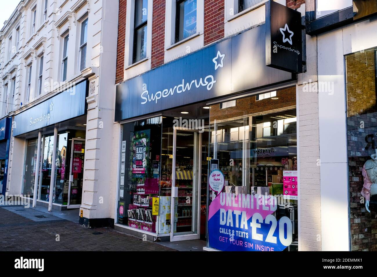 London UK, December 01 2020, Superdrug High Street Beauty and Pharmacy Shop Front Sign And Logo With No People Stock Photo