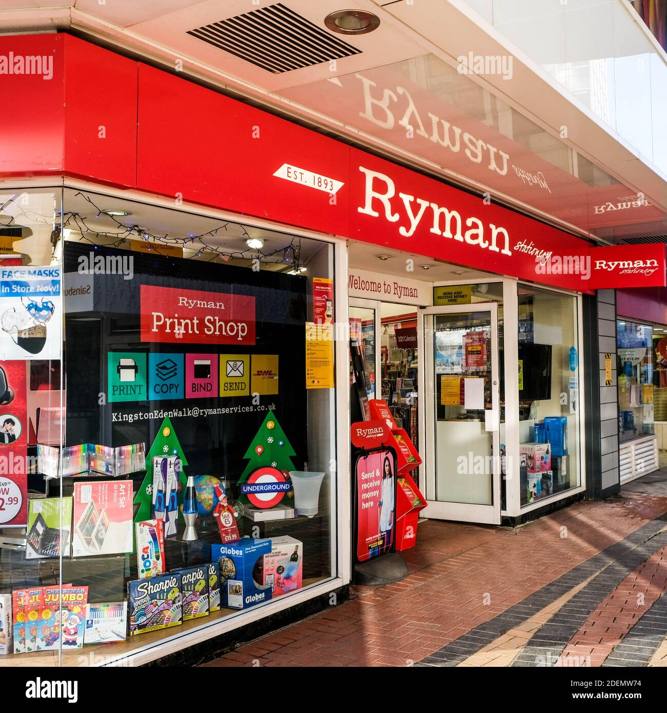 London UK, December 01 2020, Ryman High Street Stationers And Office Supplies Retail Outlet Sign and Logo With No People Stock Photo