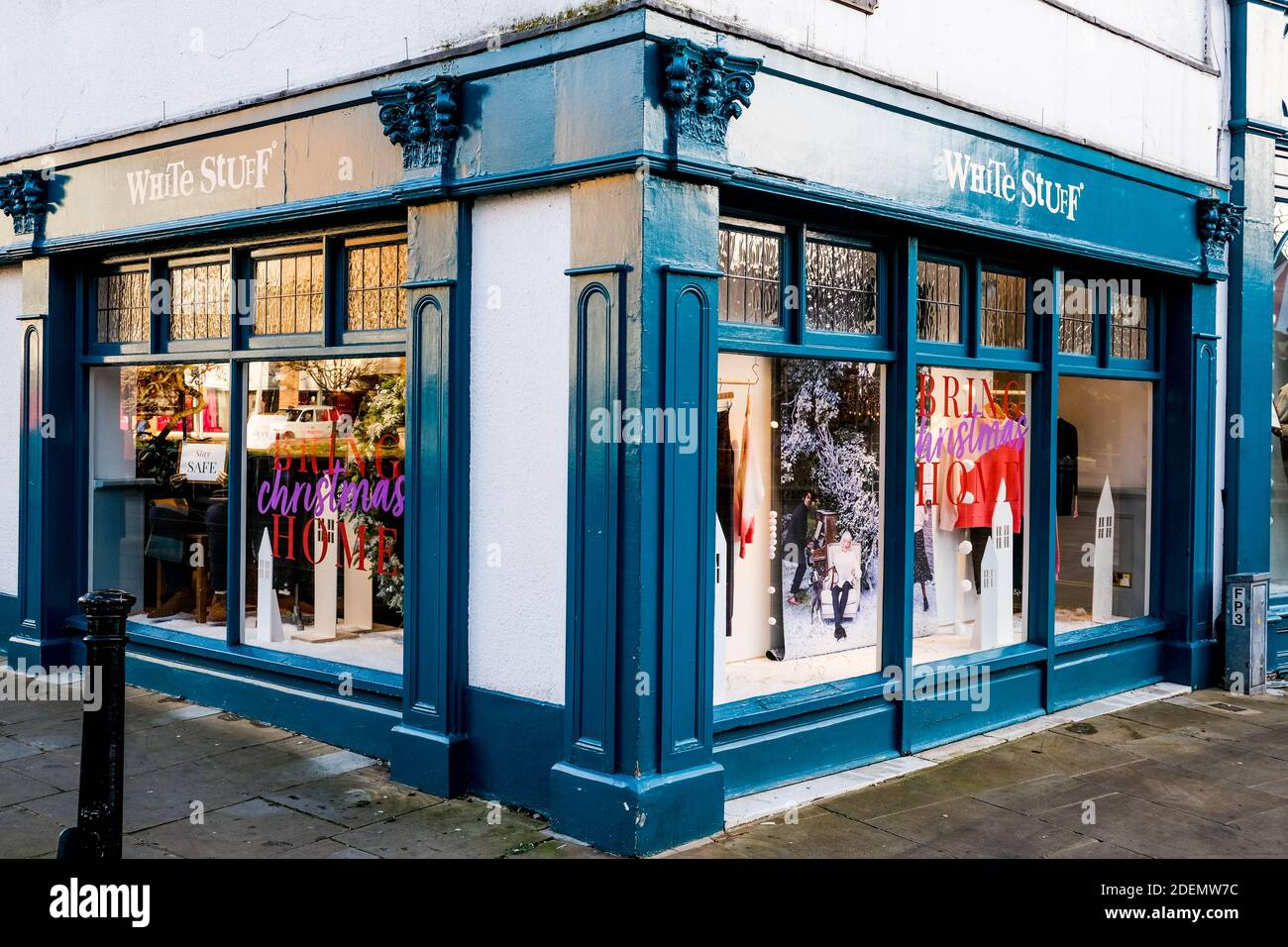 London UK, December 01 2020, White Stuff Fashion Clothing Retail Chain Shop Window With No People, Closed During COVID-19 Lockdown Stock Photo