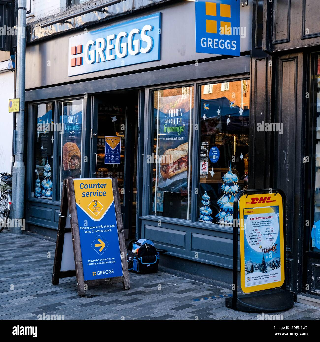 London UK, December 01 2020, Greggs Bakery Shop Front And Sign Selling Hot Food Pasties, Pies And Sausage Rolls Stock Photo