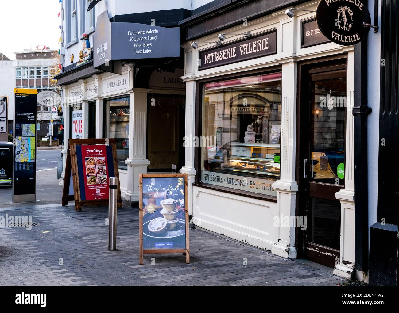 London UK, December 01 2020, Patisserie Valerie Traditional Tea and Pastry Shop Closed During COVID-19 Lockdown Stock Photo