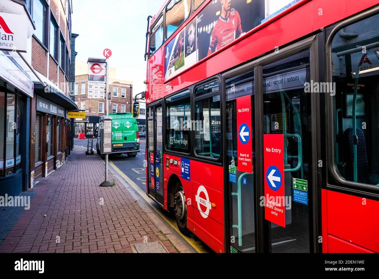 London UK, December 01 2020, Red Transport For London Double Decker Public Passenger Bus Stock Photo