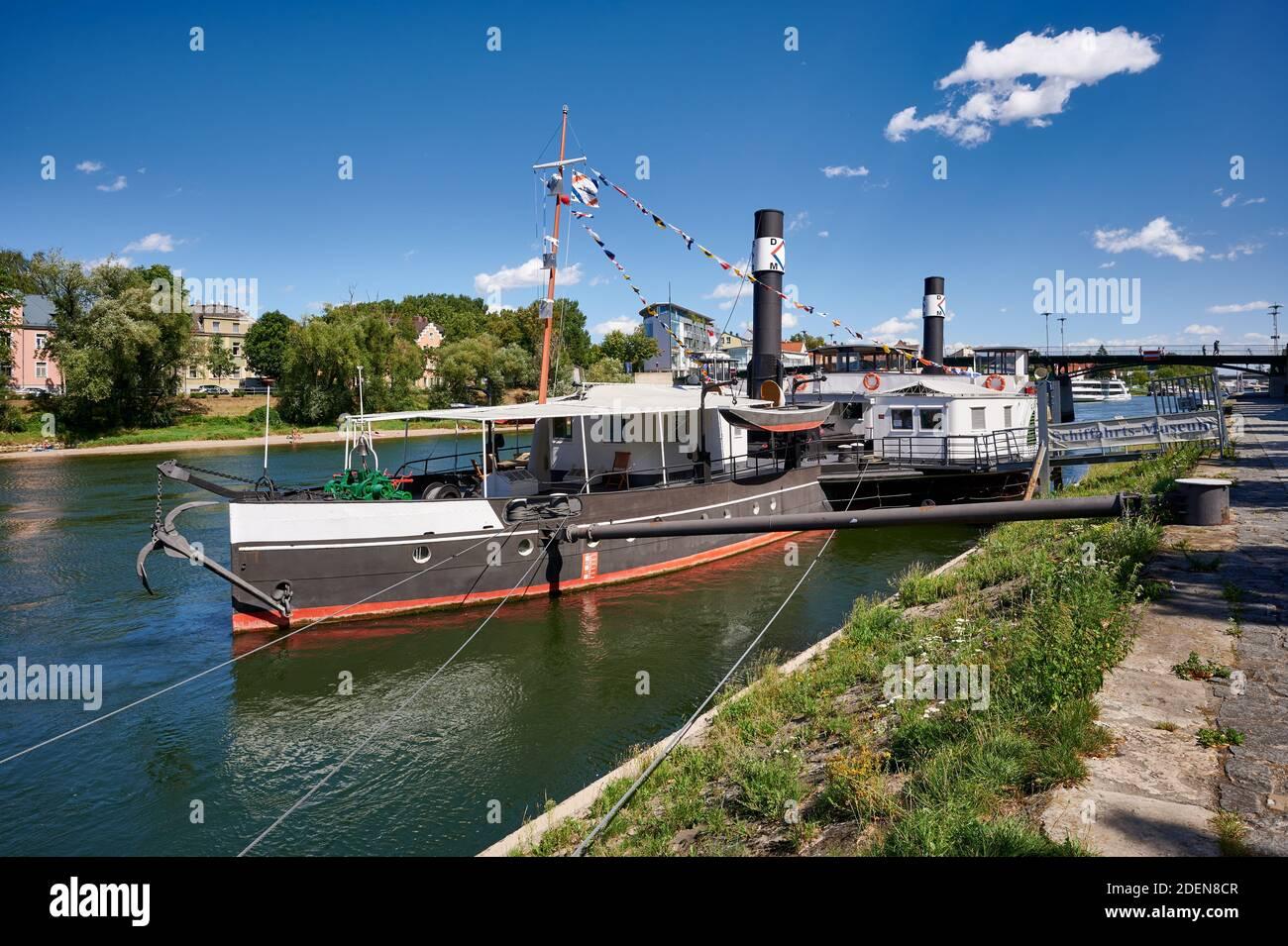 Museumsschiff RUTHOF / ÉRSEKCSANÁD Ship Museum on River Danube, Regensburg , Bavaria, Germany Stock Photo