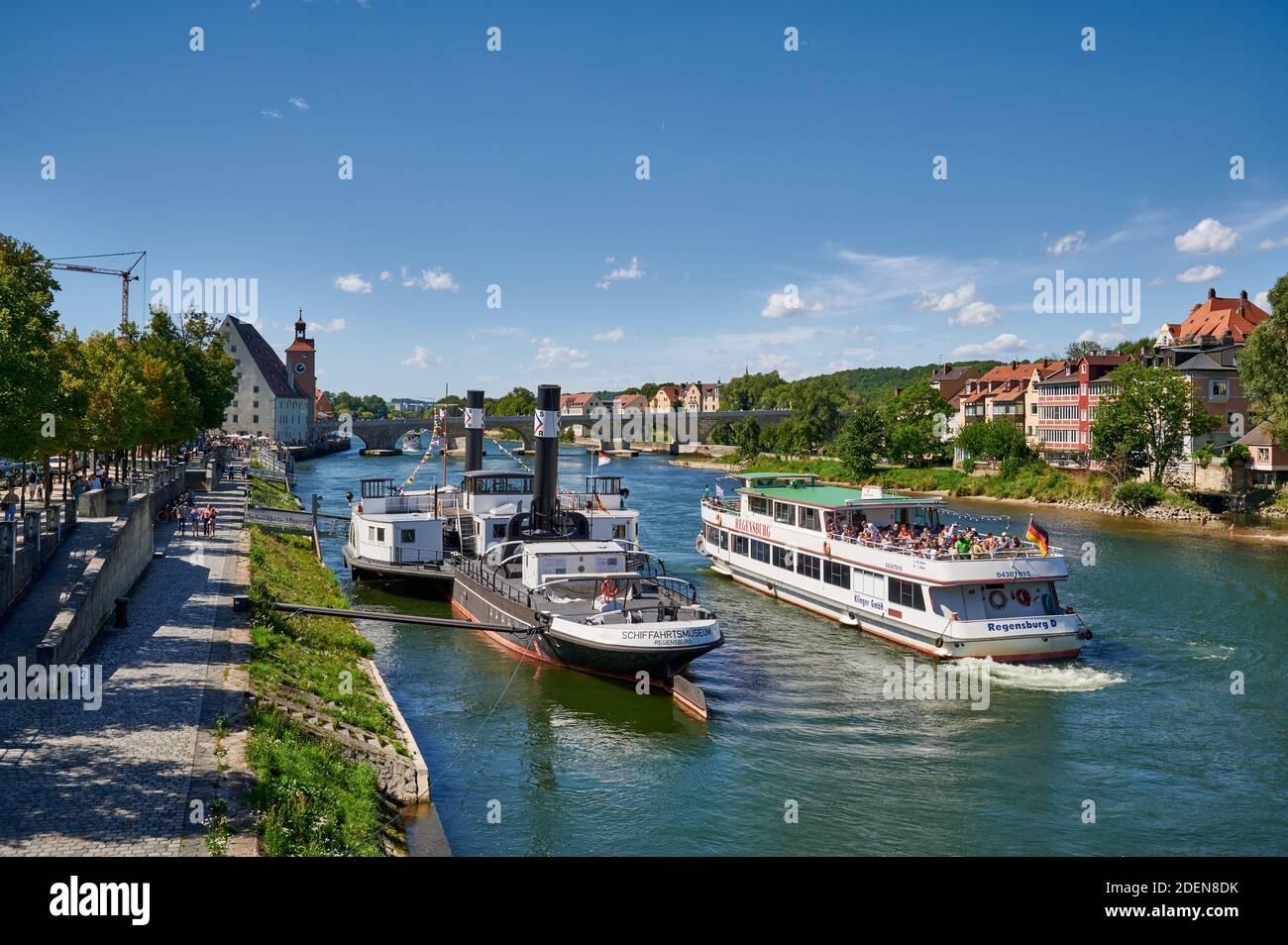 Museumsschiff RUTHOF / ÉRSEKCSANÁD Ship Museum and cruise ship on River Danube, Regensburg , Bavaria, Germany Stock Photo