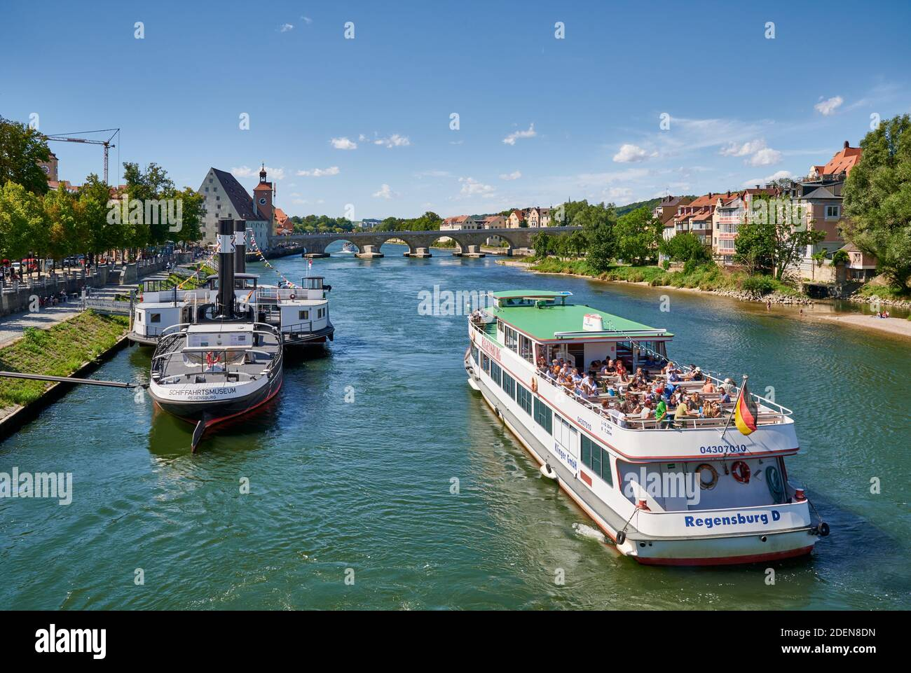 Museumsschiff RUTHOF / ÉRSEKCSANÁD Ship Museum and cruise ship on River Danube, Regensburg , Bavaria, Germany Stock Photo