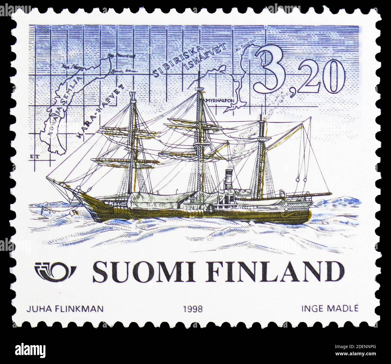 """MOSCOW, RUSSIA - JUNE 28, 2020: Postage stamp printed in Finland shows Expedition ship """"Vega"""" (1878) for Polar exploration, Norden 1998 - Shipping ser Stock Photo"""