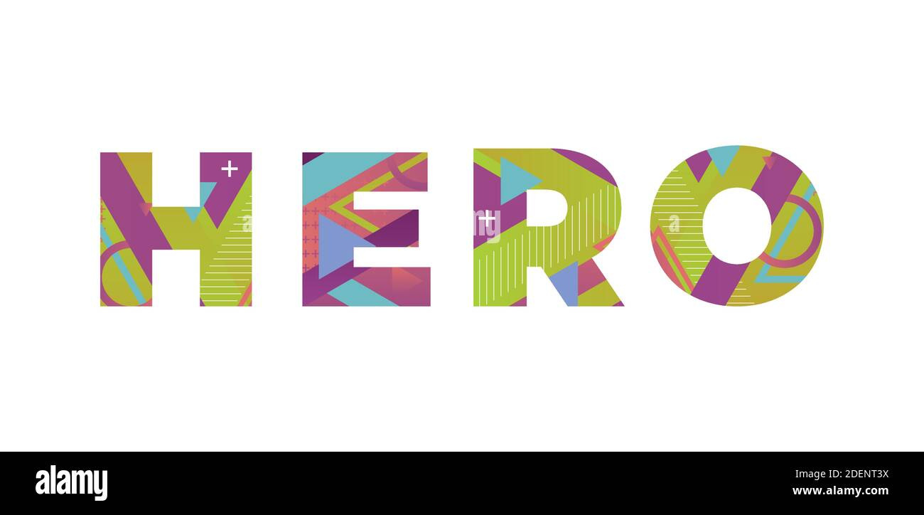 The word HERO concept written in colorful retro shapes and colors illustration. Stock Vector