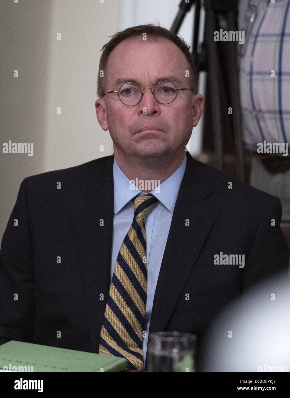 Acting White House Chief of Staff and Director of the Office of Management and Budget (OMB) Mick Mulvaney looks on as United States President Donald J. Trump participates in a briefing with senior military leaders in the Cabinet Room of the White House in Washington, DC, USA on Monday, October 7, 2019. Photo by Ron Sachs/CNP/ABACAPRESS.COM Stock Photo
