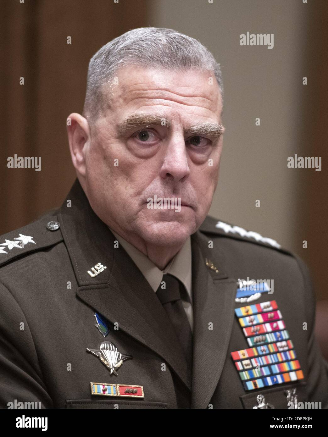United States Army General Mark A. Milley, Chairman of the Joint Chiefs of Staff, participates in a briefing with US President Donald J. Trump and senior military leaders in the Cabinet Room of the White House in Washington, DC, USA on Monday, October 7, 2019. Photo by Ron Sachs/CNP/ABACAPRESS.COM Stock Photo