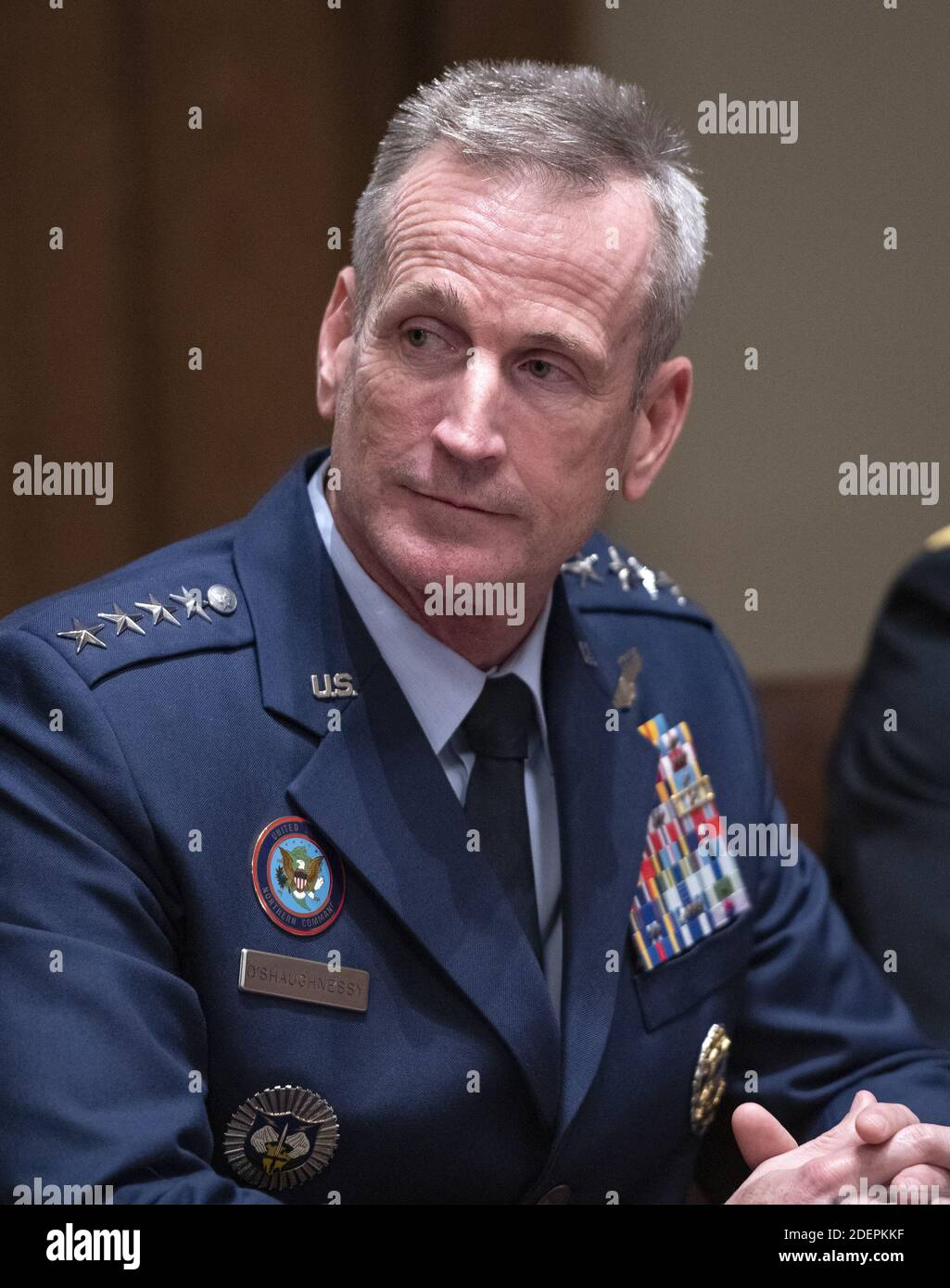 United States Air Force General Terrence John O'Shaughnessy, commander of the US Northern Command and commander of the North American Aerospace Defense Command, participates in a briefing with US President Donald J. Trump and senior military leaders in the Cabinet Room of the White House in Washington, DC, USA on Monday, October 7, 2019. Photo by Ron Sachs/CNP/ABACAPRESS.COM Stock Photo