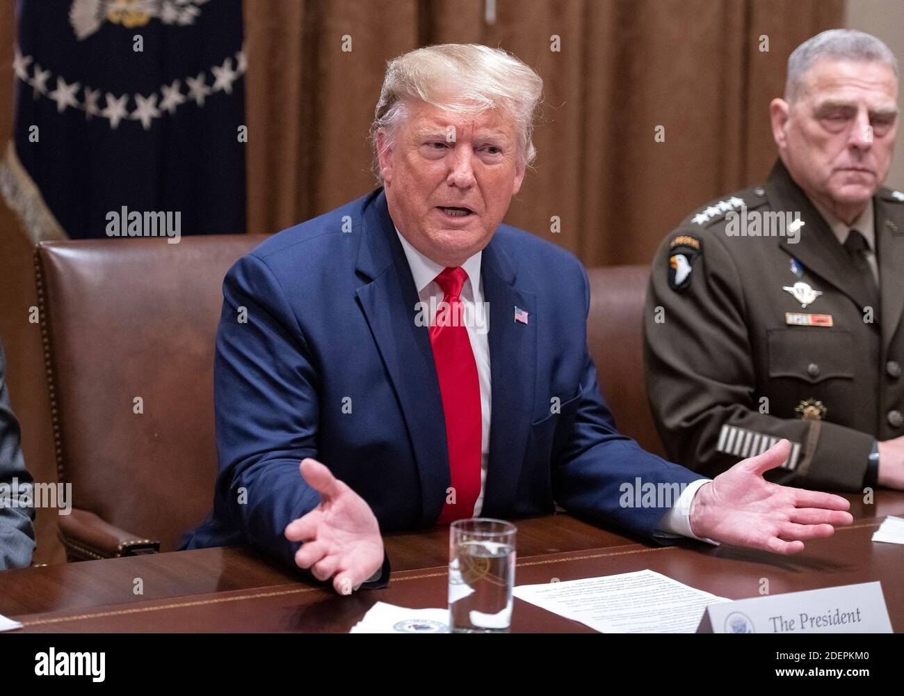 United States President Donald J. Trump answers a reporter's question as he participates in a briefing with senior military leaders in the Cabinet Room of the White House in Washington, DC, USA on Monday, October 7, 2019. Photo by Ron Sachs/CNP/ABACAPRESS.COM Stock Photo