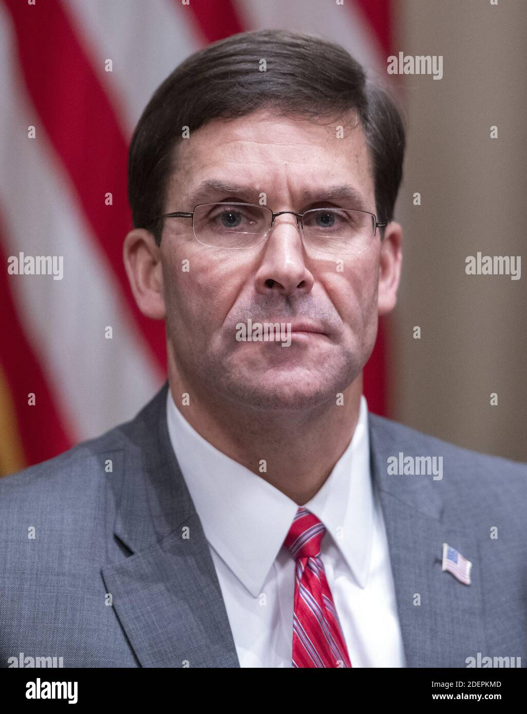 United States Secretary of Defense Dr. Mark T. Esper participates in a briefing with US President Donald J. Trump and senior military leaders in the Cabinet Room of the White House in Washington, DC, USA on Monday, October 7, 2019. Photo by Ron Sachs/CNP/ABACAPRESS.COM Stock Photo
