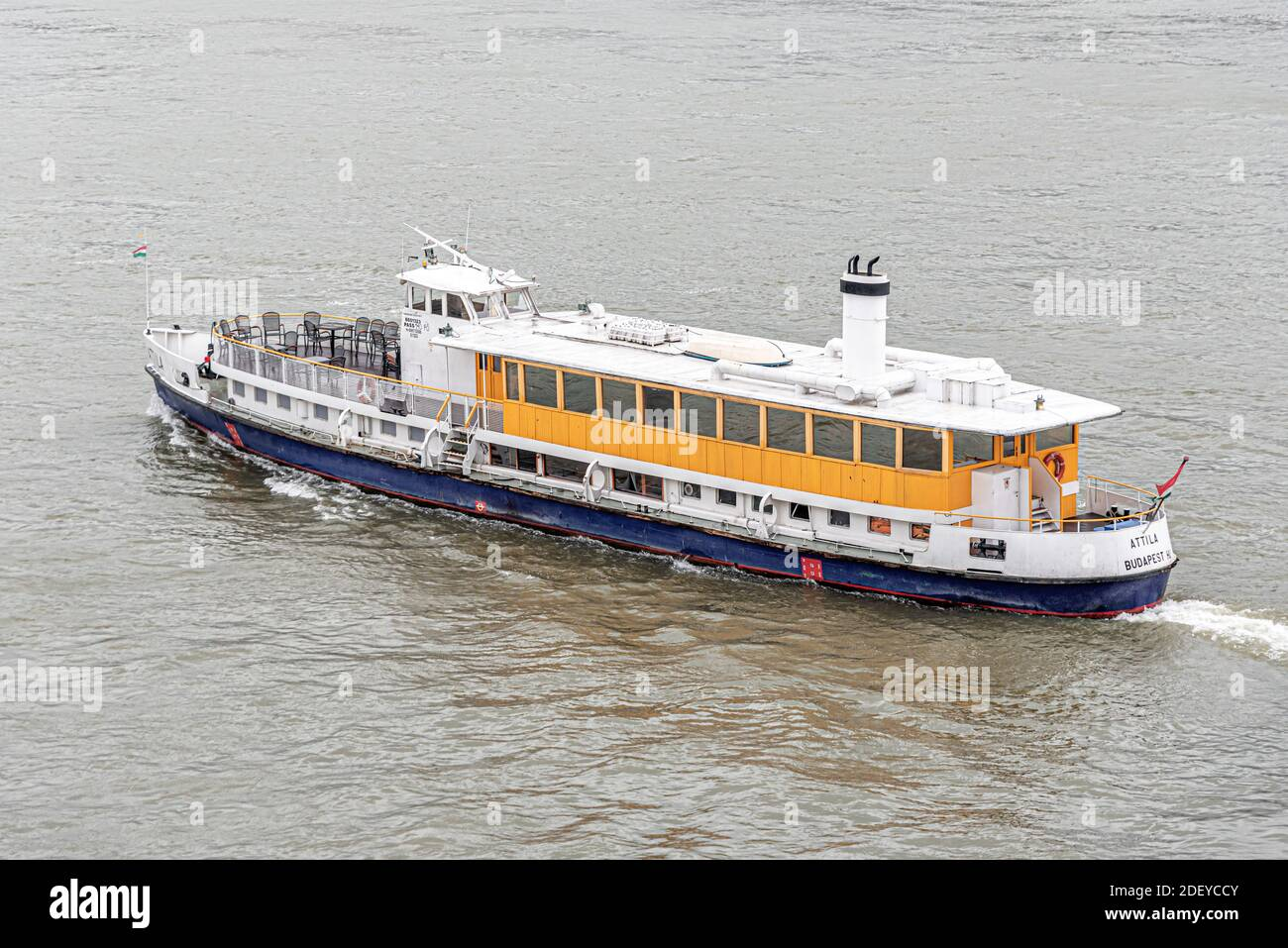 Small steamer on the Danube River in Budapest, the capital of Hungary. Stock Photo