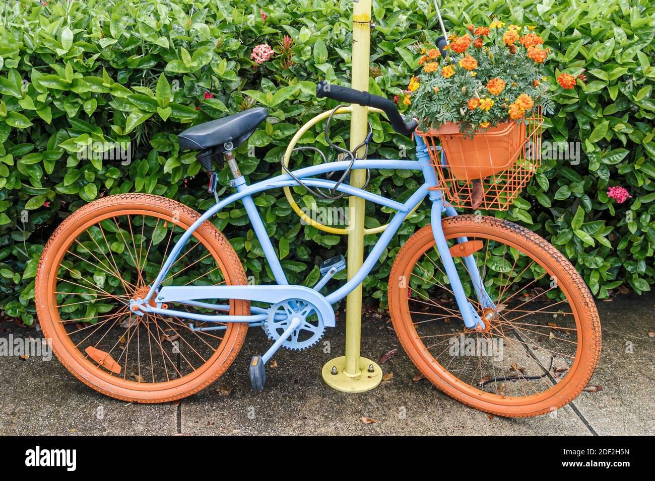 Florida Miami Springs painted bicycle bike, public art, Stock Photo