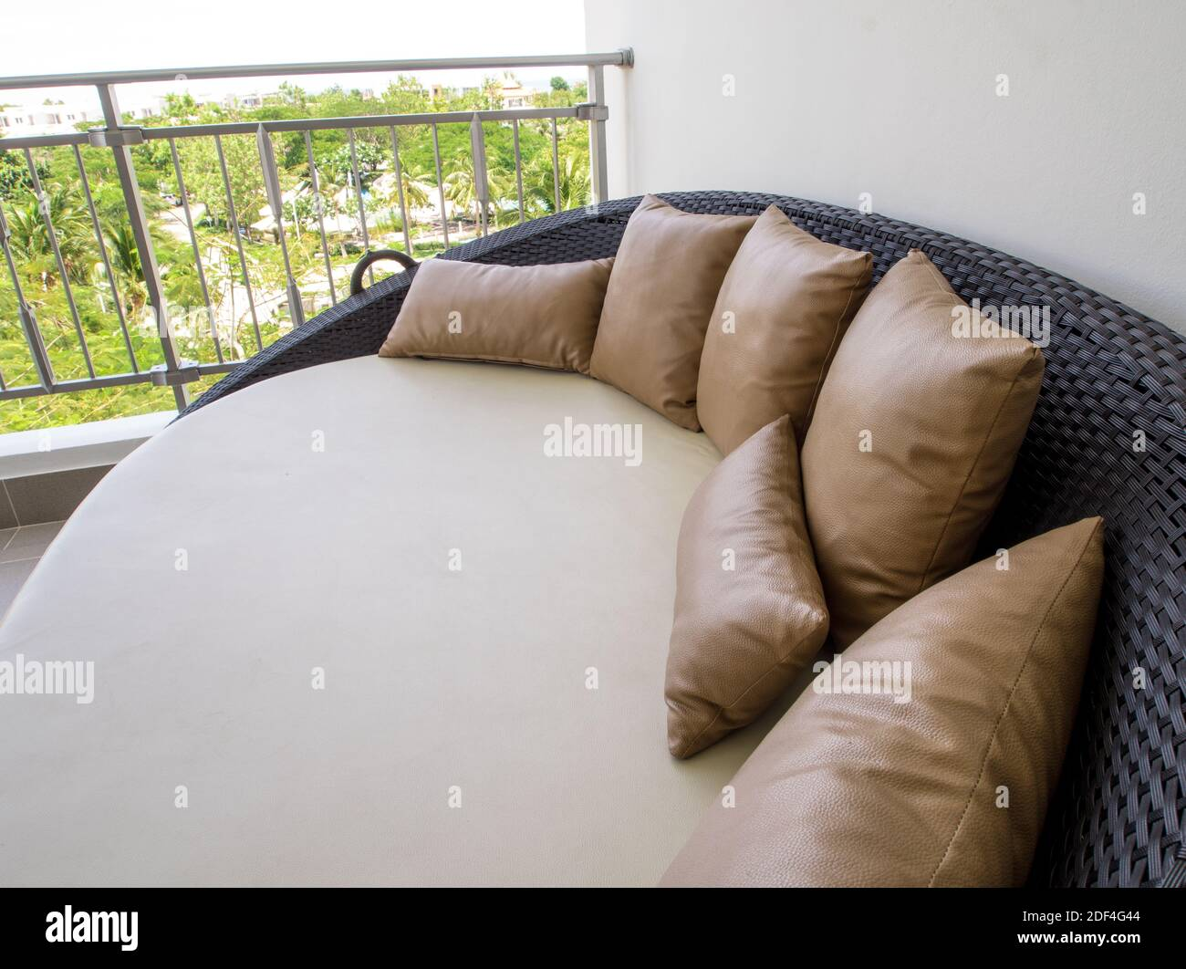 Waterproof Pillowcase And Mattress Cover Of Outdoor Daybed At The Balcony Stock Photo Alamy
