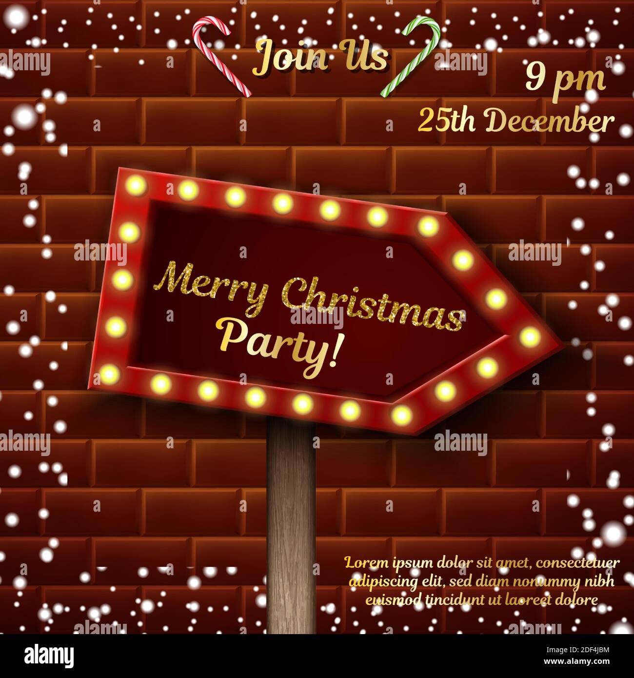 Celebration background. Christmas party invitation design template. Stock Vector