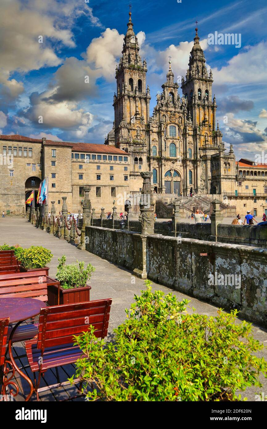 Cathedral from the Parador Hostal Reyes Catolicos, Praza do Obradoiro, Santiago de Compostela, A Coruña province, Galicia, Spain Stock Photo