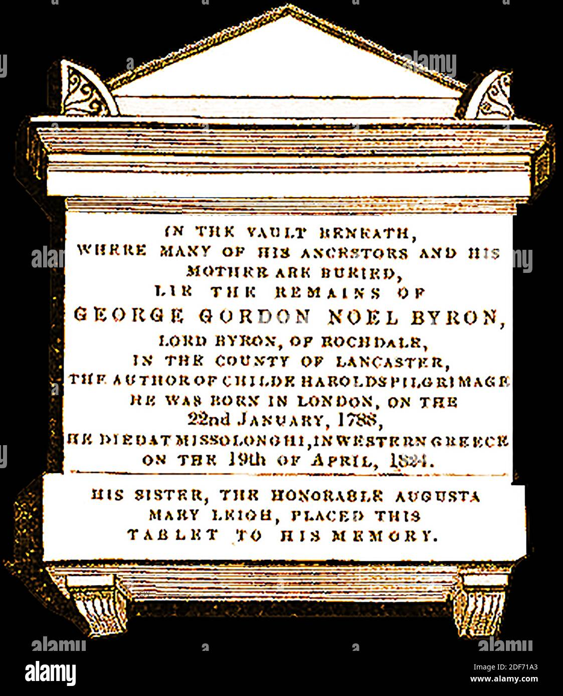 Memorial tablet above the grave of Lord Byron (George Gordon Noel Byron - Lord Byron of Rochdale ) , Peer, poet and politician , at St Mary Magdalene church Hucknall, Nottinghamshire, England in 1842. He added the name Noel to his own   so as to inherit half of the  estate of his mother in law Judith Noel, the Honorable  Lady Milbanke Stock Photo