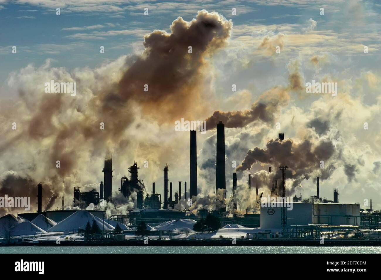 air pollution  from chemical valley in Sarnia Ontario Canada bordering Port Huron Michigan USA from oil refineries Stock Photo